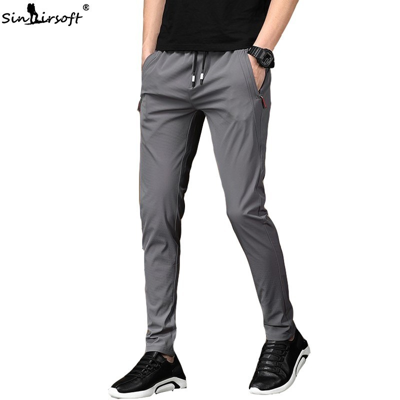 2019 New Men's Summer Casual Pants Stretch Nine Pants Feet Multi-functional Pants Drawstring Harness Pants Quick-drying Trousers