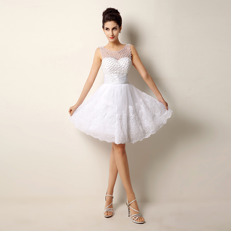 Lace beading short wedding dresses sexy plus size vintage for Cute short wedding dresses
