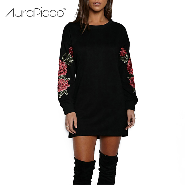 Rose Stickerei Mini Sweatshirt Kleid Beiläufige Lose Lange Hülse O ...