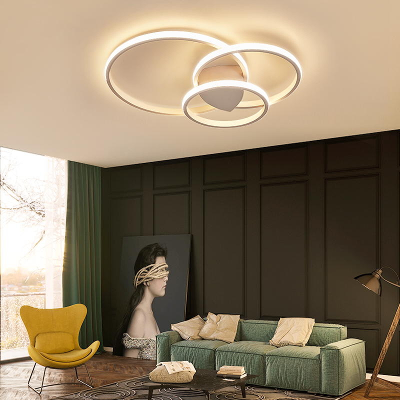 Dimmable High Brightness Circle Rings Modern Led Ceiling Lights For Living Room Bedroom Study Room Double Glow Ceiling Lamp Dimmable High Brightness Circle Rings Modern Led Ceiling Lights For Living Room Bedroom Study Room Double Glow Ceiling Lamp