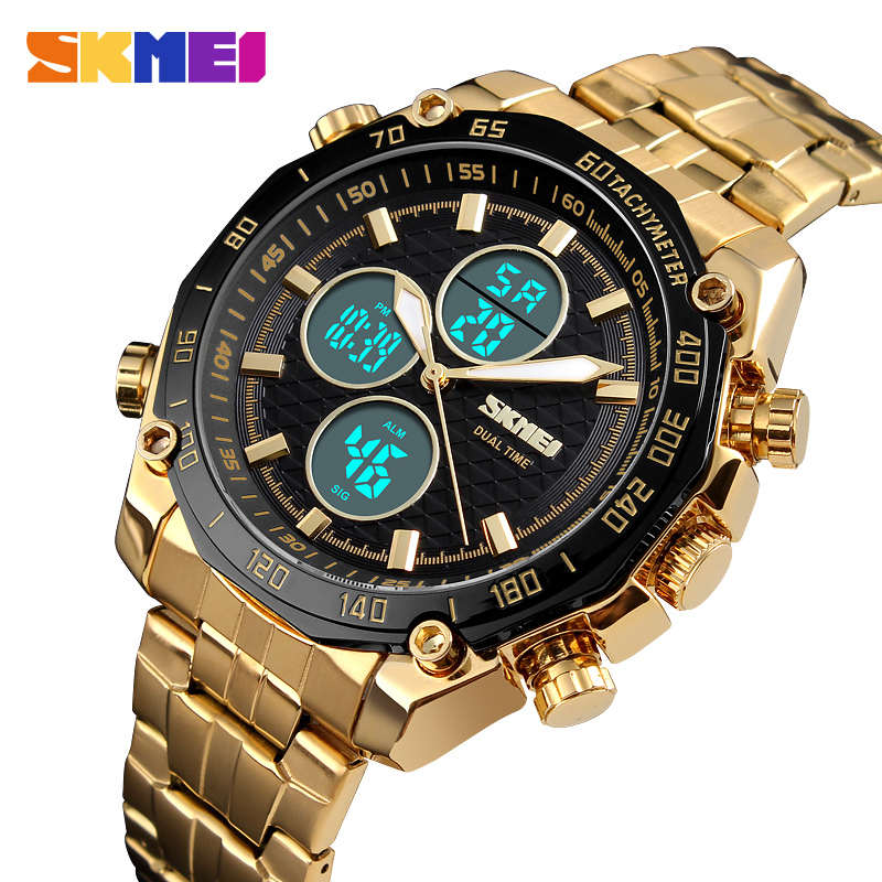 лучшая цена SKMEI Luxury Mens Watches Gold Quartz Watch Analog Digital Sport Stopwatch Alarm Military Watch Waterproof Casual LED WristWatch