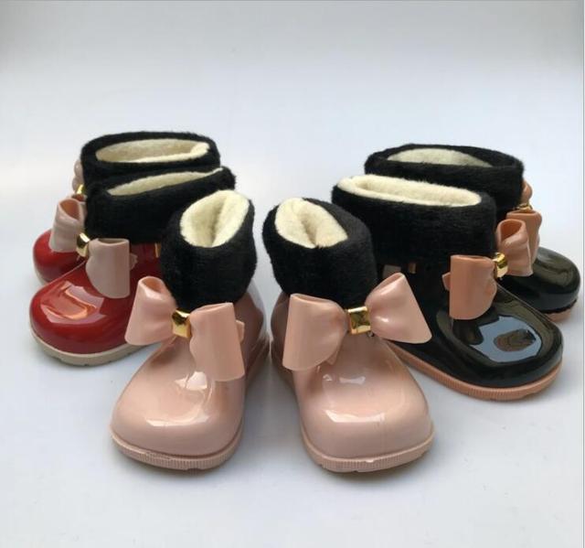 Bebek Kız Yağmur Çizmeleri Bebek Çocuk Yağmur Çizmeleri Sıcak Güzellik Yay Rainboots Moda Lastik Ayakkabı Yürüyor Çocuk Jöle ayakkabı