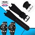 Aotu 26mm faixa de relógio de aço inoxidável à prova d' água silicone suave pin buckle fit for série gerente ulysse nardin relógio cintas + ferramentas