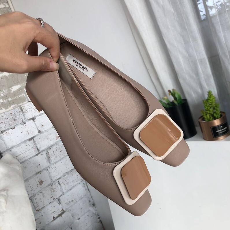 Mujer Sur De Plat Couleur Apricot Pu Ballet Sport Chaussures 2019 Boucle Glissement Tête Printemps Bonbons kaki vert Zapatos En Nouveau Femmes Appartements Carrée Métal PwnFqRF8v