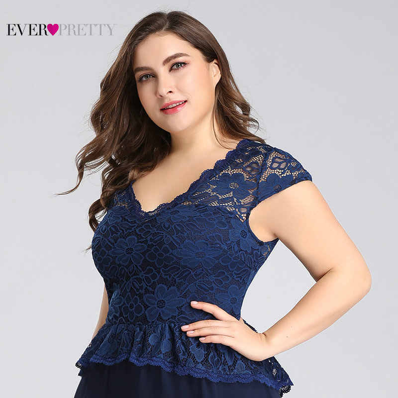 Vestidos de Madre de la novia talla grande siempre bonito EP07672 azul marino cuello en V de encaje de manga corta elegante vestido de fiesta de Fiesta