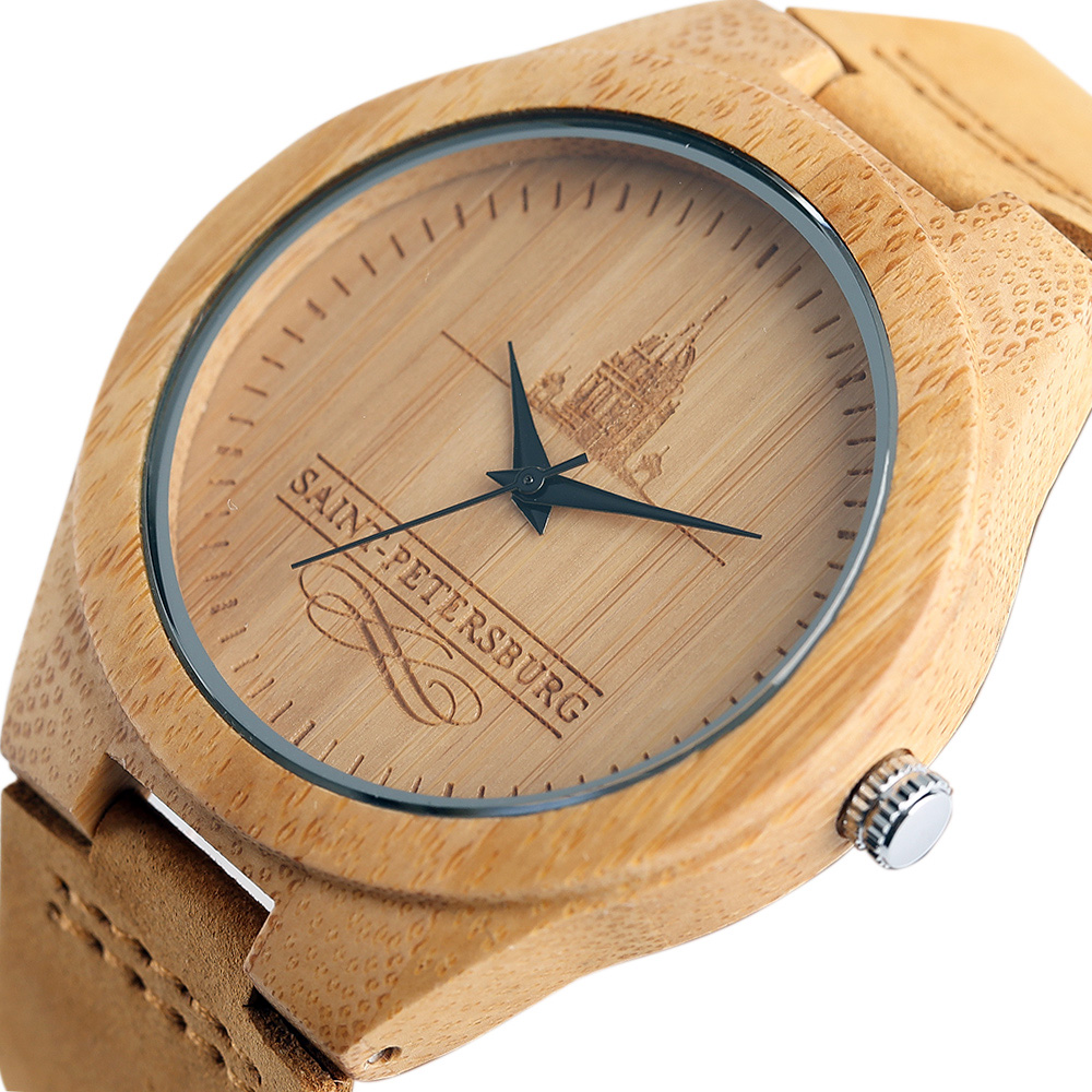 Casual Bamboo Watches Male Saint Petersburg Design Modern 100% Wooden Quartz Watch for Women Men Handmade Birthday Gifts 2017