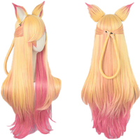 LOL Ahri Gumiho Star Guardian Golden Pink Mixed Color Ombre Wavy Wave Long Heat Resistant Hair Cosplay Costume Wigs + Wig Cap