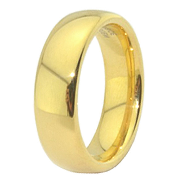 classic gold color titanium steel wedding bands promise couple