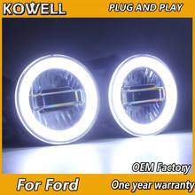 KOWELL Car Styling for Ford focus Fiesta fusion mondeo EcoSport LED Fog Light Auto Angel Eye Fog Lamp LED DRL 3 function model(China)