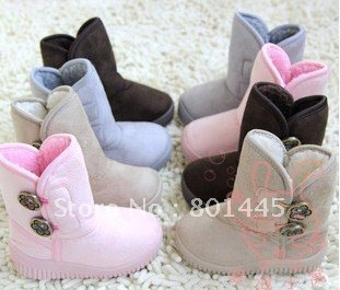 2011 Winter Boy Snow Boots Girl Snow Boots Slipping Sole Boots 2~6Y Free Shipping Wholesale Retail
