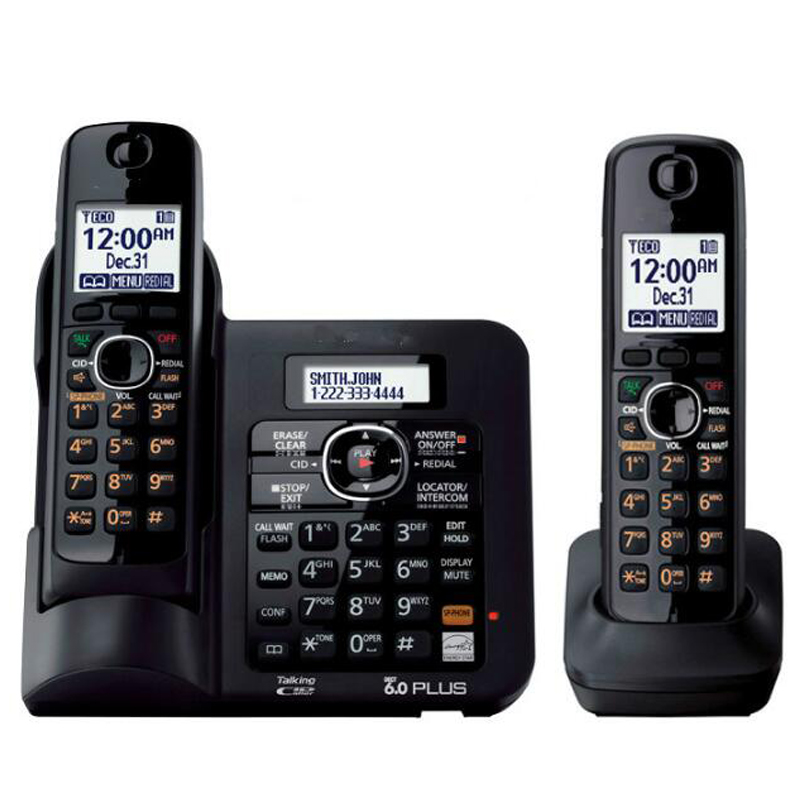 2 Handsets KX-TG6641 series DECT 6.0 Digital wireless phone Black Cordless Phone with Answering system answering back