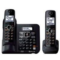 2 Słuchawek KX-TG6641 serii DECT 6.0 Cyfrowy system bezprzewodowy telefon Czarny Telefon Bezprzewodowy z Sekretarka