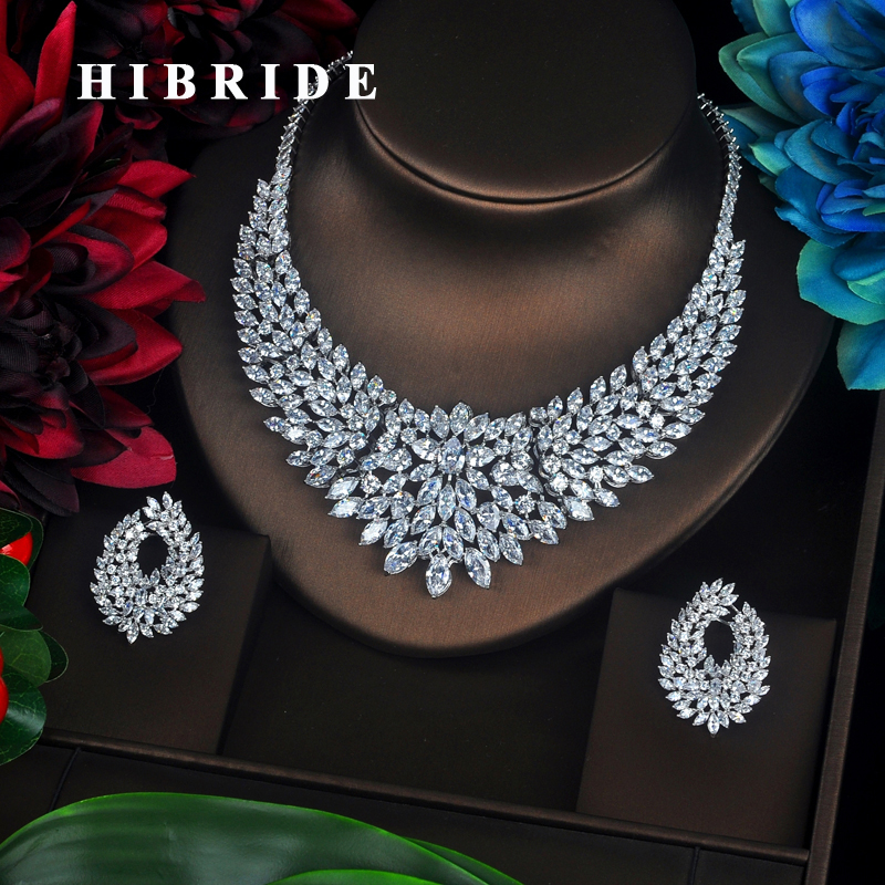HIBRIDE Sparkling Marquise Cut Cubic Zirconia Big Full Jewelry Sets Women Bride Necklace Set Dress Accessories