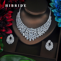 HIBRIDE Sparkling Marquise Cut Cubic Zirconia Big Full Jewelry Sets Women Bride Necklace Set Dress Accessories Party Show N 340