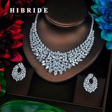 HIBRIDE musujące Marquise cięta sześcienna cyrkonia duże pełne zestawy biżuterii kobiety panna młoda naszyjnik zestaw akcesoria do sukni Party Show N 340