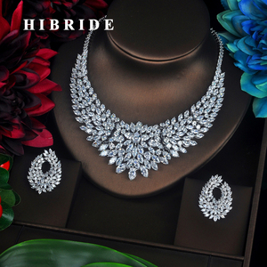 Image 1 - Комплект украшений HIBRIDE женский из колье, серёг и колье, с фианитом