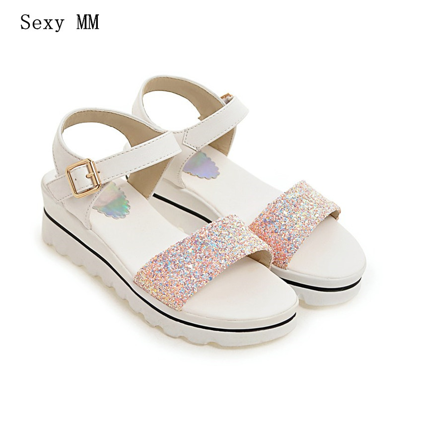 Women Platform Low High Heel Wedge Sandals Woman Summer Shoes Low High Heels Wedges Gladiator Sandals Plus Size 34 - 40 41 42 43 2017 summer new rivet wedges sandals creepers women high heel platform casual shoes silver women gladiator sandals zapatos mujer