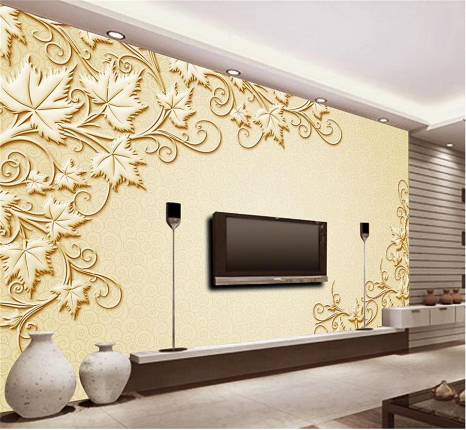 Custom Photo Wallpaper Room Mural Home Decor Golden Vine Cane Relief Painting Sofa Tv Background Non Woven In Wallpapers From