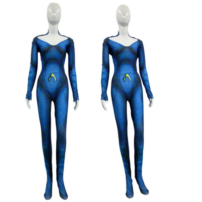 2019 New Kids Children Women Amber Heard Queen of the Sea Mera Cosplay Costumes Bodysuit Justice League Halloween Costumes