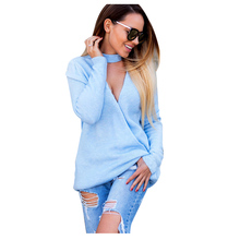 Sexy Women's Autumn Spring sweater V-neck two Kinds of wear pullovers pull Women Hollow Top