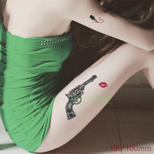 Waterproof Temporary Tattoo Sticker vintage gun pistol with rose sexy thigh flash tatoo fake tatto for girl women(China)