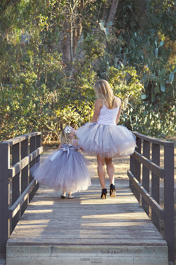 tutu gray daughter mother party wedding birthday Photograph skirt cloth sets family matching outfits Europe dress costume