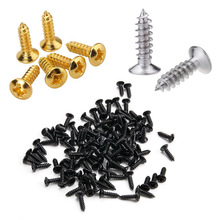 50pcs / set Gold Black Silver Electric Guitar Bass Pickguard Cover Plate Screws For Guitar Bass Metal Fixed Screw Wholesale