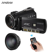 Andoer AC3 UHD 24MP Digital Video Camera 4K Camcorder w/ 0.45X Wide Angle Lens IR Night Vision Hot Shoe for External Microphone(China)