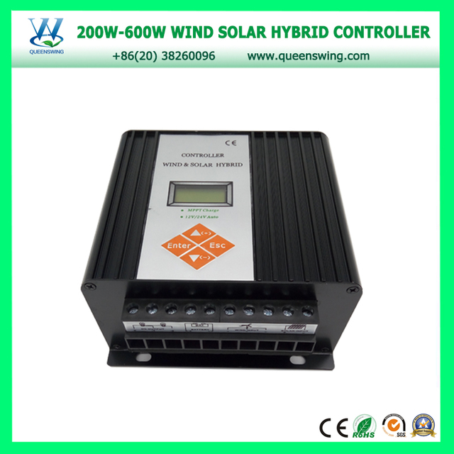 QUEENSWING auto12v/24v 600w MPPT Wind Solar Hybrid Charge Controller for home used with output all day (QW-SWC-06-1224-TA)