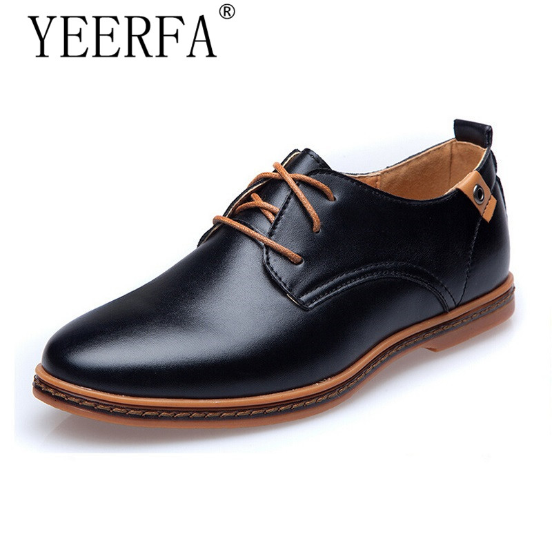 YIERFA New 2017 Men Leather Shoes Casual Lace-up Shoes Black Brown Flat Cheap Leather Loafers Oxford shoes plus size 38-48 wheel up bike head light cycling bicycle led light waterproof bell head wheel multifunction mtb lights lamp headlight m3014