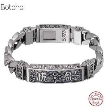 3c282ae29165 Pulsera de plata 925 para hombre 100% Plata de Ley 925 banda de seguridad  Cadena de mano trae pulsera de joyería de la suerte de metal