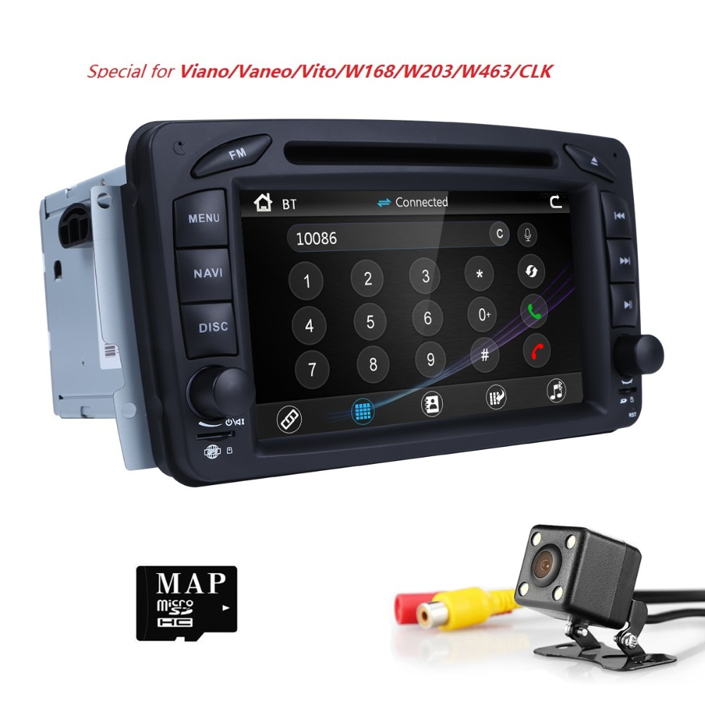 2Din AutoRadio Lecteur DVD de Voiture Pour Mercedes/Benz/W209/W203/W168/M/ML/W163/W463/Viano/W639/Vito/Vaneo 1998-2006 Audio GPS Navi BT