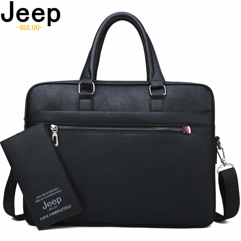 JEEP BULUO Famous Brand Men Briefcases High Quality 14'Laptop Office Business Bag Leather Shoulder Messenger Bags Travel Handbag