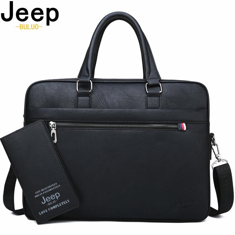 JEEP BULUO célèbre marque hommes porte-documents de haute qualité 14'ordinateur portable bureau sac d'affaires en cuir épaule Messenger sacs voyage sac à main