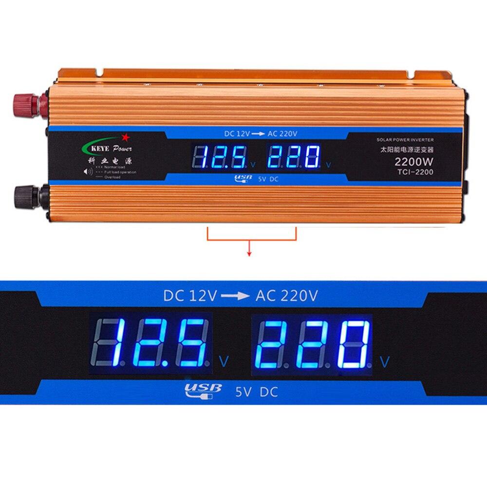 2200 Вт автомобилей Мощность инвертор DC 12 В AC 220 В автомобиля Зарядное устройство преобразователь 12 вольт до 220 вольт USB 5 В 1A 50 Гц CY894-CN