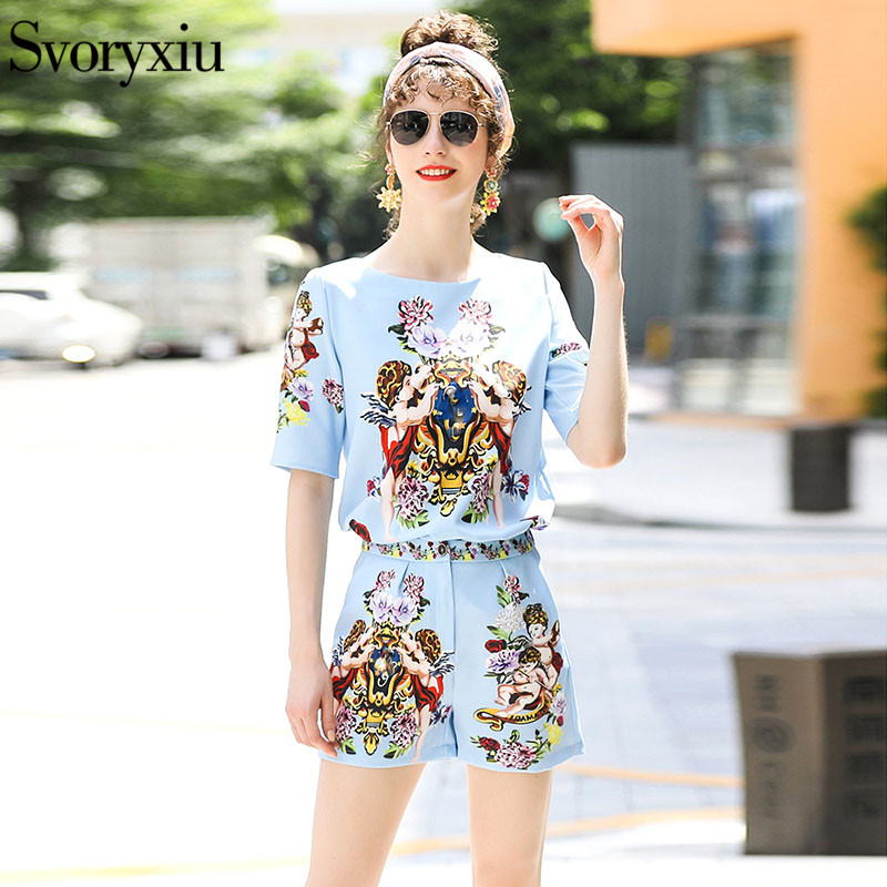 Svoryxiu Designer Summer Party Two Piece Set Women s Short Sleeve Floral Angel Printed Tops Shorts