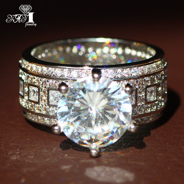 YaYI Jewelry Fashion  Princess Cut  Huge 4.6CT White Zircon Silver Color Engagement Rings wedding Rings Party Rings 1