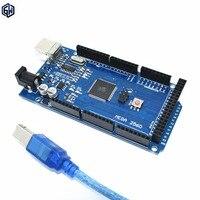 Free Shipping 10set Lot MEGA 2560 R3 ATmega2560 16AU CH340G AVR USB Board USB Cable ATMEGA2560