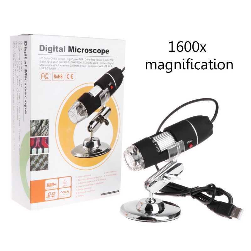8LED 1600x USB Digital Microscope Electronic Lens Light Biological Magnifier Endoscope Camera Video Stand