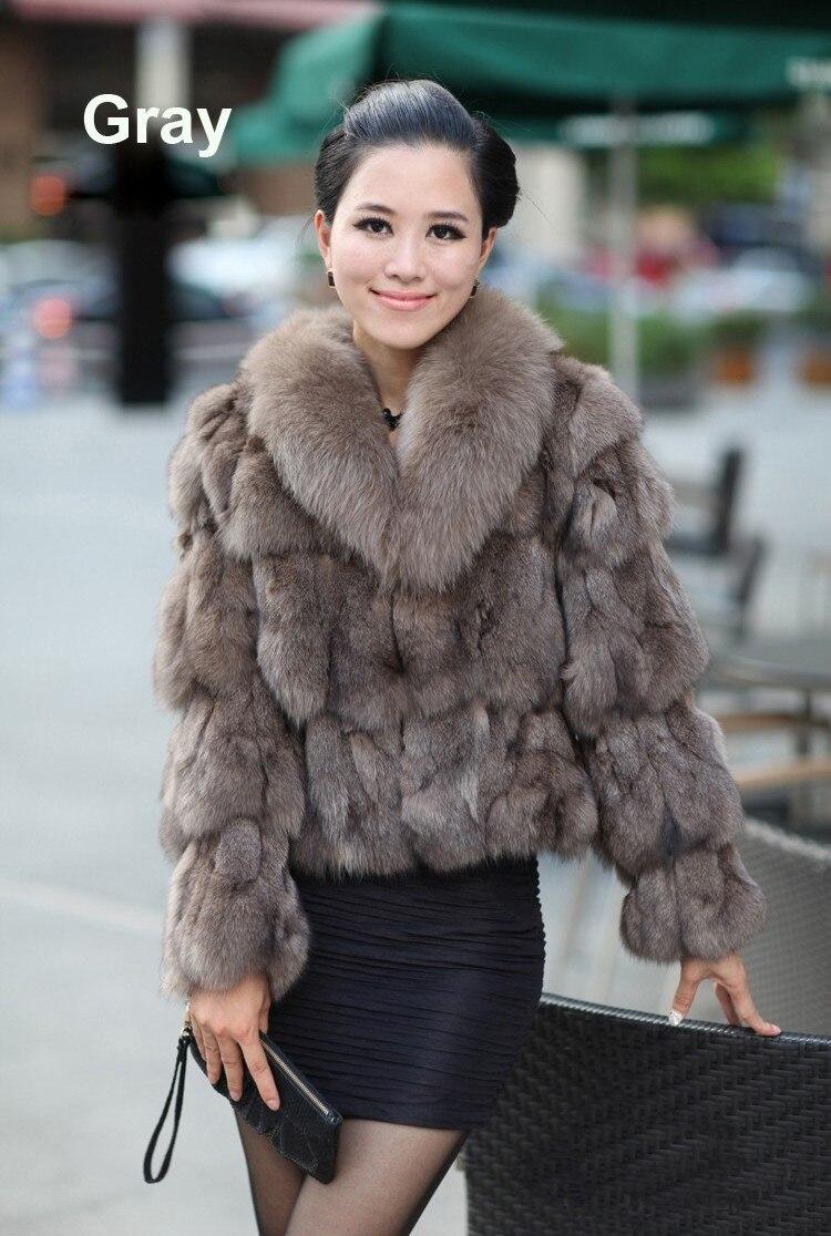 Подлинная настоящее естественная лисий мех пальто женщины в куртка зима тёплый роскошь лисий мех жилеты обычный