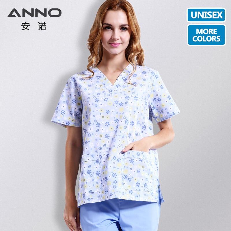 ANNO 15 Colors White Nursing Uniform Unisex Women Medical Scrub Suits Matching Hospital Dental Doctor Clothing Clinic Uniform