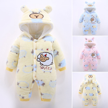 2020 Newborn Infant Romper Autumn Winter Baby Jumpsuit Thick Warm Hooded Toddler Baby Girl Boy Clothes For 3m-12m Baby Costumes