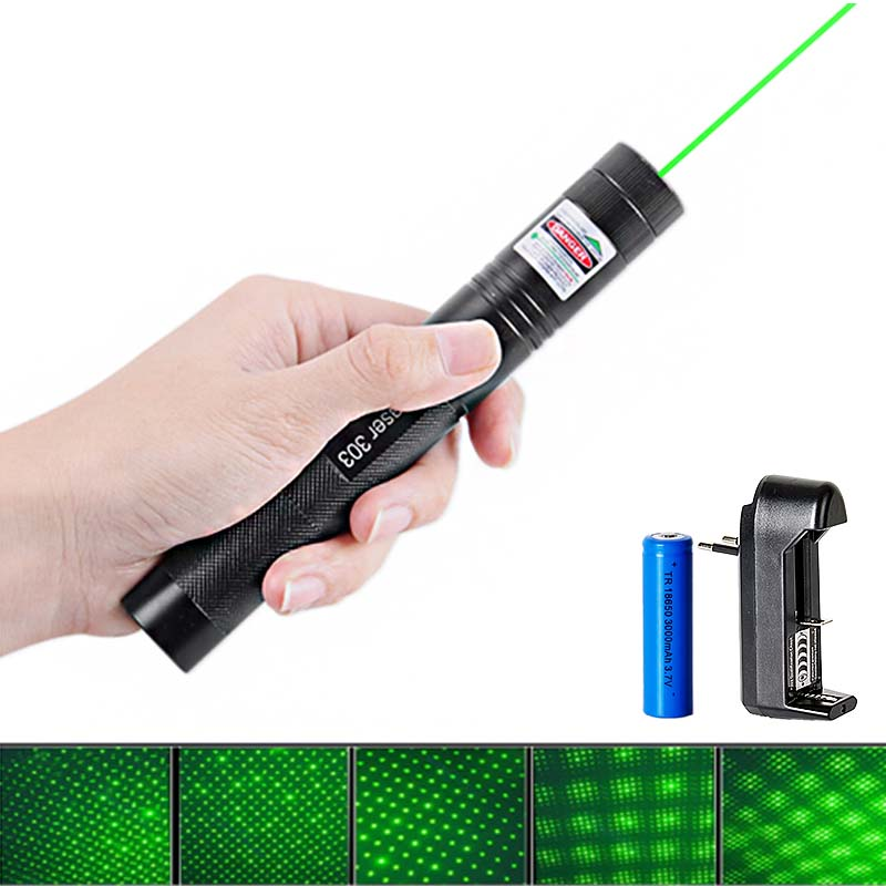 Potente puntero láser verde 532nm 5 MW 303 láser pluma foco ajustable cerilla encendida Beam con 18650 batería + cargador