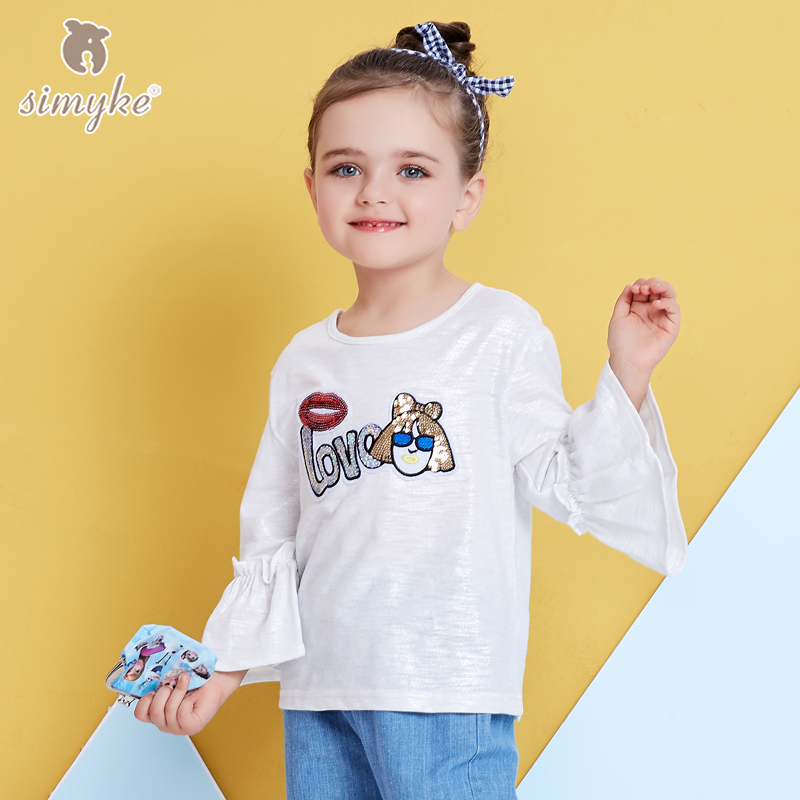 Simyke White T-shirt For Girls Childrens Cute Tee 2018New Spring Kids Brand Top For Girl Toddler Clothing 1-6 years Cloth J3800