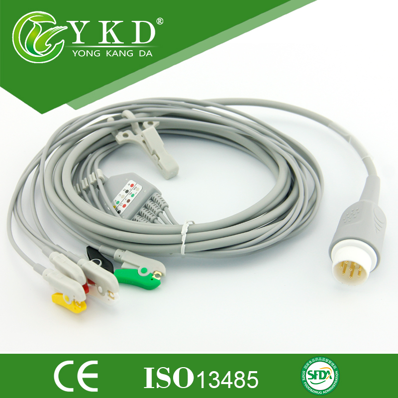 Free shipping one-piece series patient cable with leads IEC,5LD,CLIP, 8pinFree shipping one-piece series patient cable with leads IEC,5LD,CLIP, 8pin
