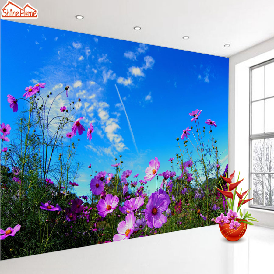 ShineHome-Azalea Blue Sky Flower Wallpaper for Bedroom Murals Rolls for 3d Walls Wallpapers for 3 d  Living Rooms Wall Paper shinehome skyline sea wave sunset seascape wallpaper rolls for 3d walls wallpapers for 3 d living rooms wall paper murals roll