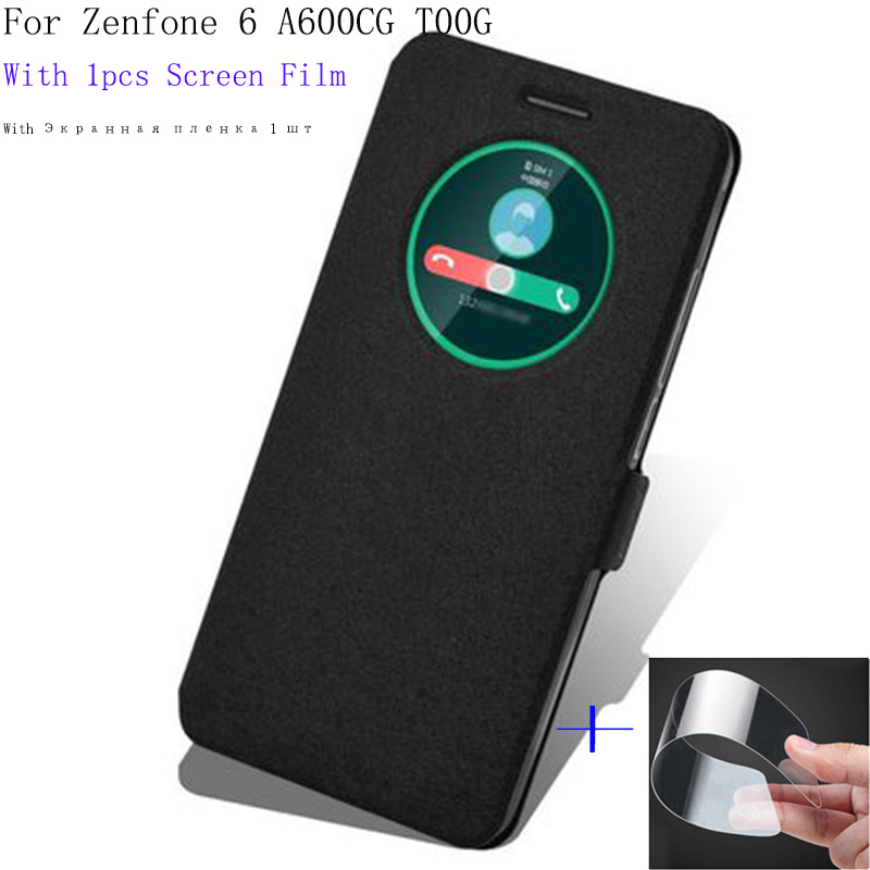 6.0inch Smart View Window Shell For <font><b>ASUS</b></font> Zenfone 6 A600CG <font><b>T00G</b></font> Case Cover flip PU Leather for Zenfone6 phone cases back cover image