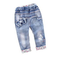 New Arrival Baby Girls Fashion Denim Jeans Girls Floral Belt Skinny Jeans Kids Spring Autumn Jeans