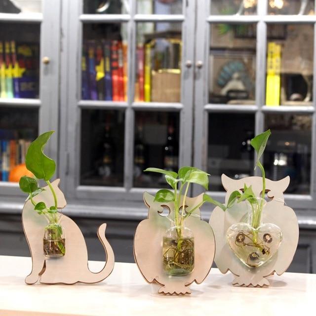 Modern Style Glass Tabletop Plant Bonsai Flower Wedding Decorative Vase  Magnetic Cat Owl Background Home Decoration