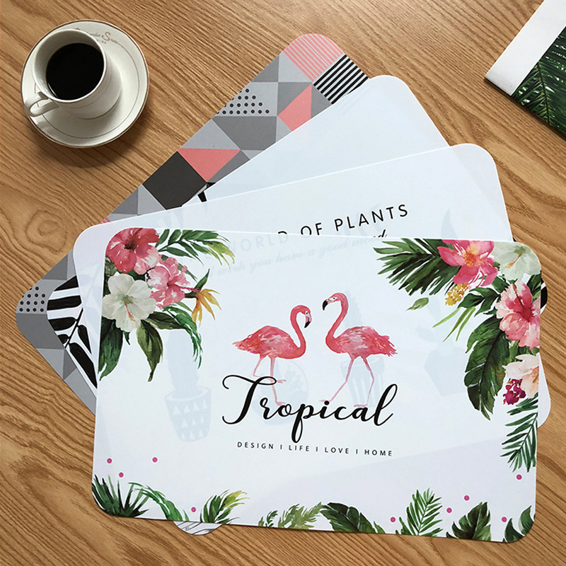 Creative Tableware Dining for Table Mat Leaf Flamingo Cactus Bowl Coaster Non Slip Heat resistant Placemats Individual Coasters in Mats Pads from Home Garden